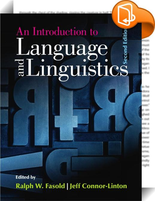 An Introduction To Language And Linguistics Ralph W border=